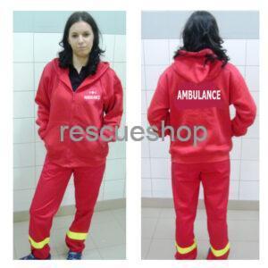 Karcsúsított slim fit kapucnis ambulance pulóver fehér