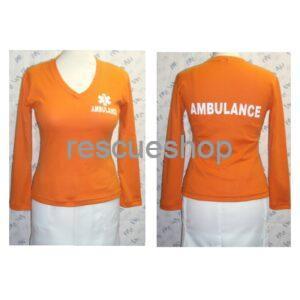 Női V-kivágású egészségügyi póló hosszú ujjú színes AMB