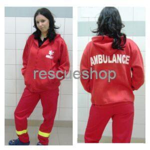 Kapucnis kórházi pulóver piros AMBULANCE felirattal