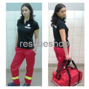Mentős nadrág piros,- sárga fényvisszaverővel