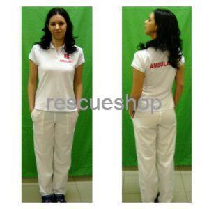Női ingnyakas AMBULANCE póló fehér