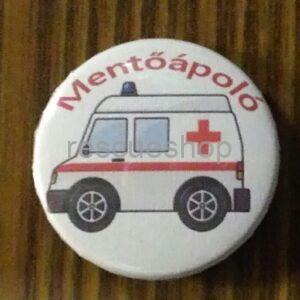 rajzolt színes mentőautó kiskitűző mentőápoló