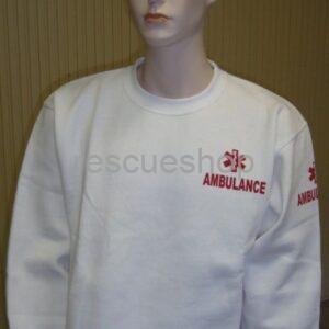 Környakas orvosi pulóver fehér AMBULANCIÁS