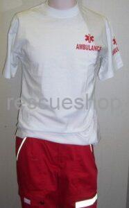 Környakas egészségügyi póló fehér, AMBULANCE felirattal extra