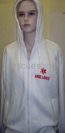 Kapucnis pulóver fehér AMBULANCE felirattal