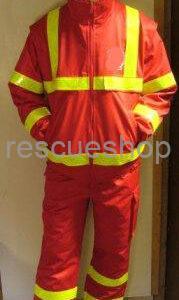 piros vízlepergetős mentős nadrág 2db sárga csíkkal