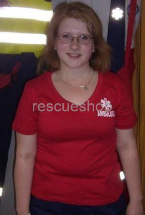 Női V-nyakas AMBULANCIÁS póló színes