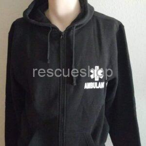 Kapucnis paramedic pulóver fekete- AMBULANCE felirattal