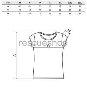 női környakas póló mérettábla
