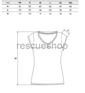 női v nyakas póló mérettábla