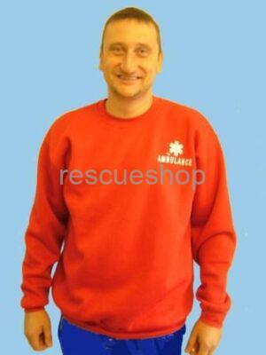 piros környakas mentős pulcsi AMBULANCE felirattal