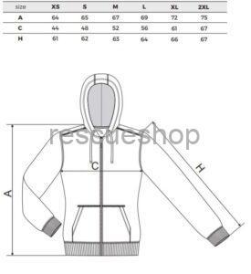Női karcsúsított kapucnis pulóver mérettábla