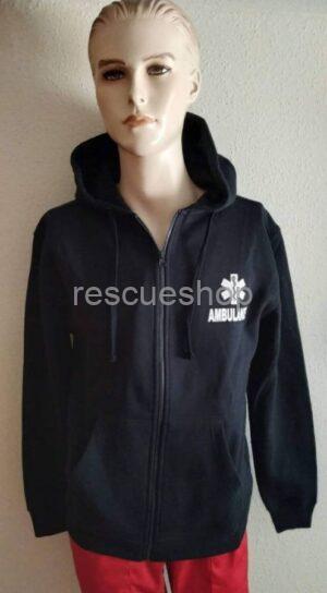 Kapucnis mentős pulóver sötétkék- AMBULANCE felirat