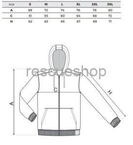 kapucnis pulóver mérettábla